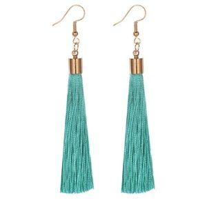 Tassel Earrings in Light Green Mint